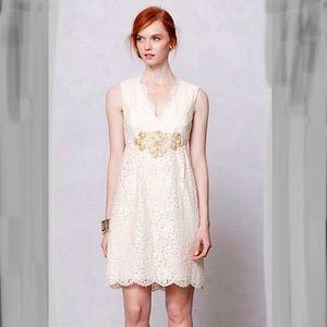 ANA SUI LONOKE Dress Ivory Eyelash Lace